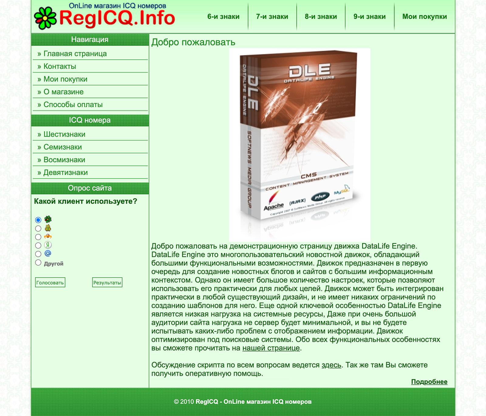 Дизайн сайта RegICQ (Макет + свёрстанный шаблон) купить