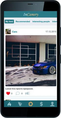 Приложение фото социальной сети с доходом InCamery для Windows Phone