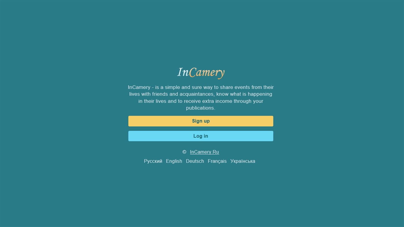 Дизайн приложения фото социальной сети с доходом InCamery для Windows