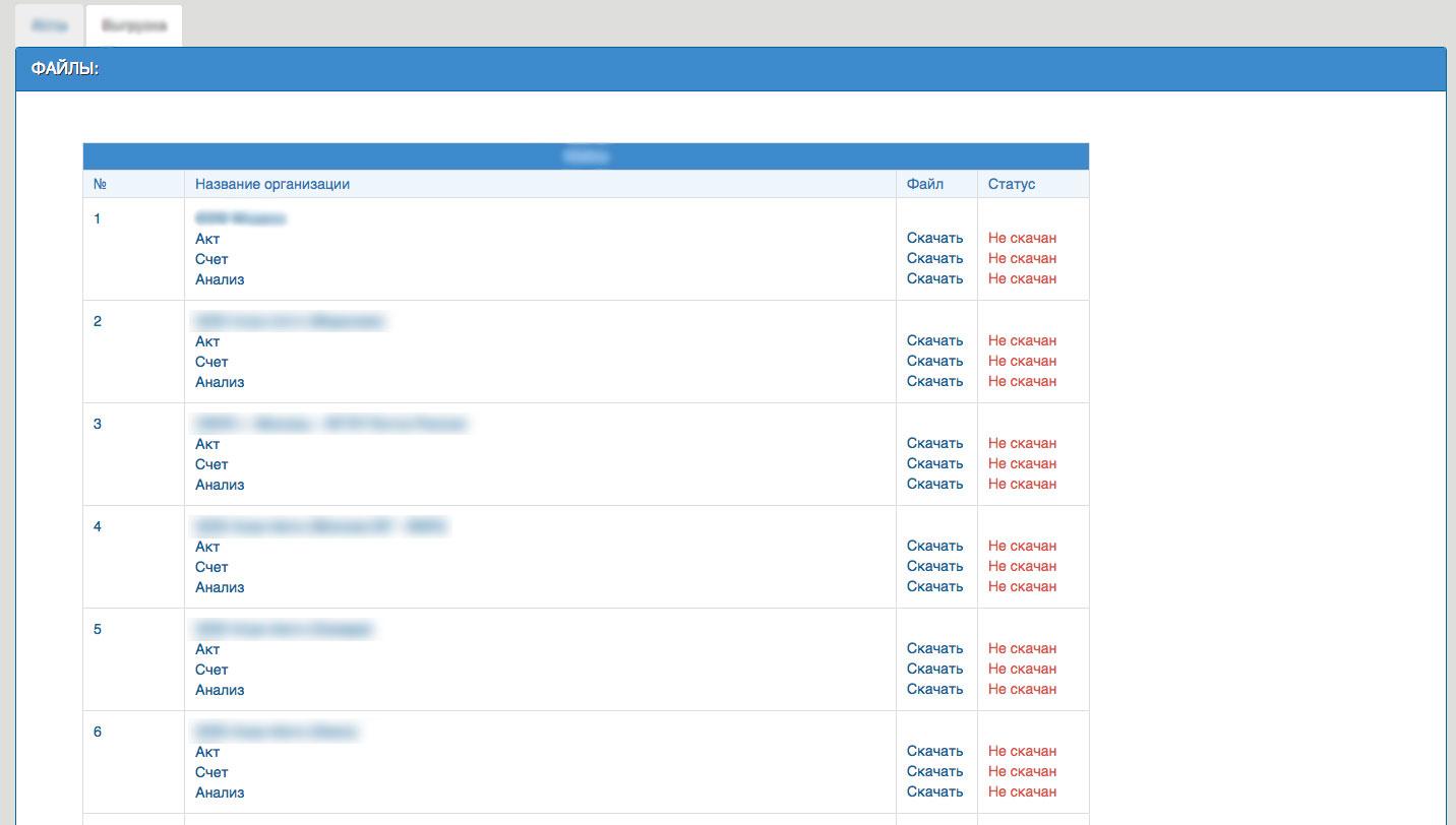 Изменение отображения списка файлов выгрузки