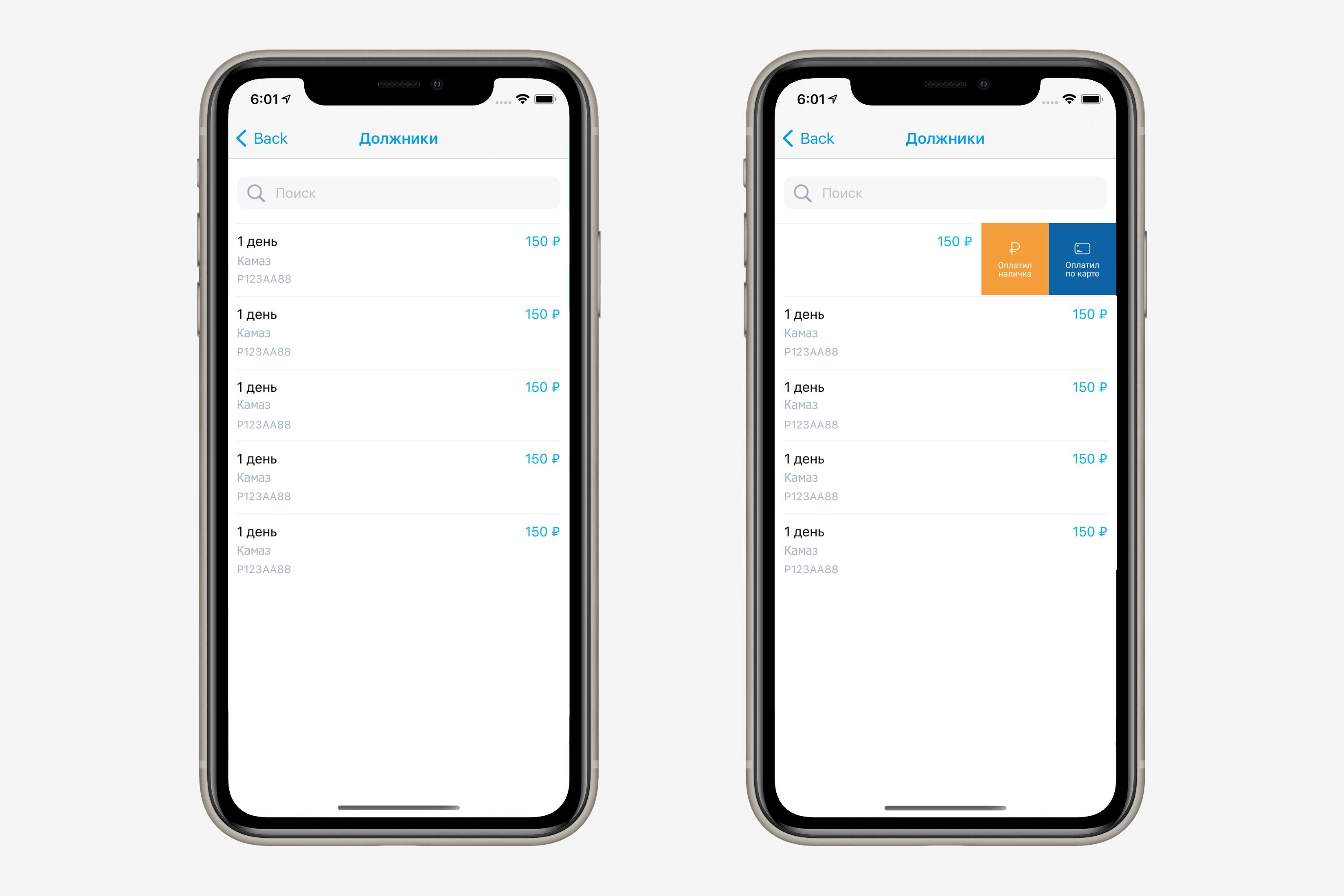Раздел должники для стоянок в iOS