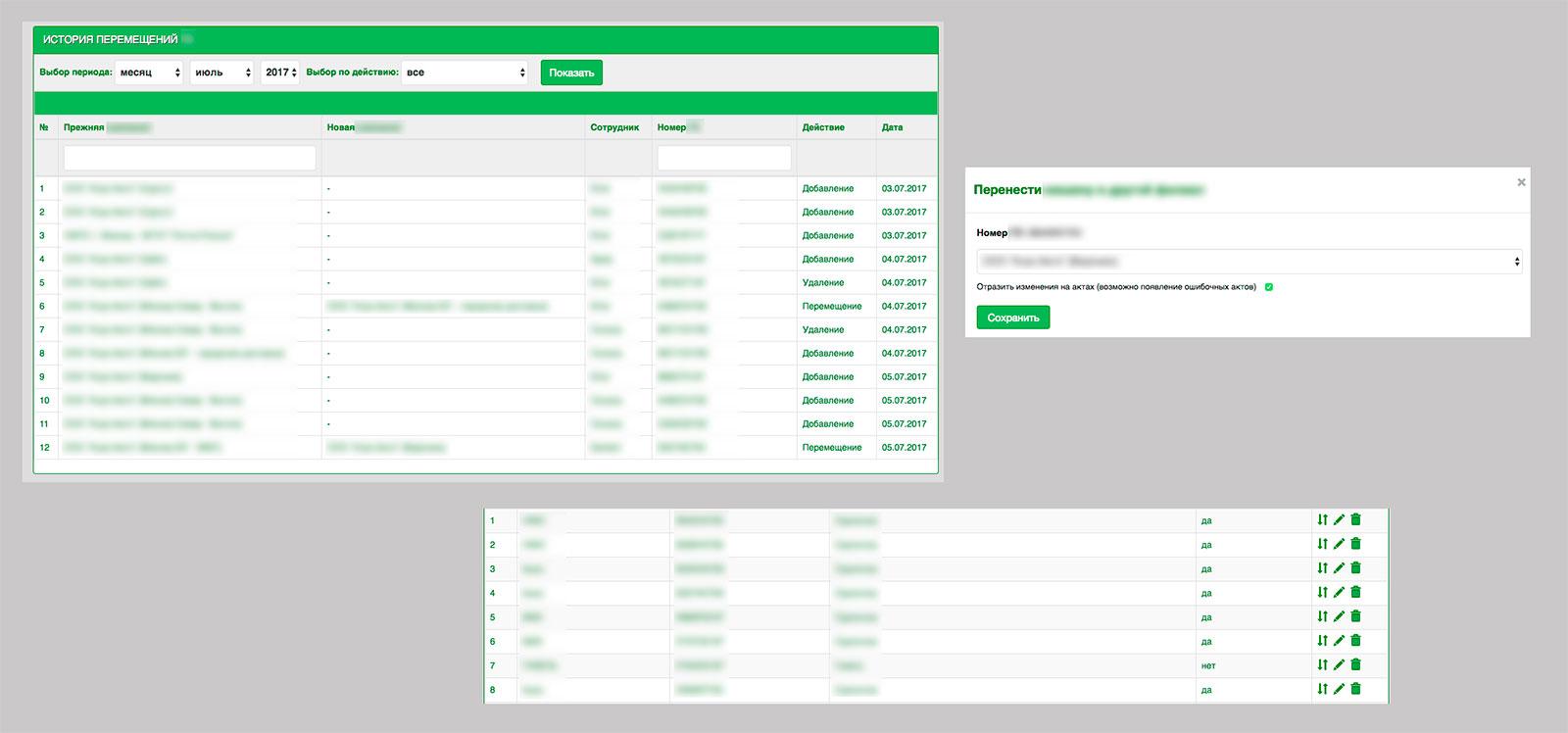Система перемещений товаров для Yii2
